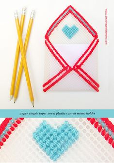 DIY Plastic Canvas Envelope Memo Holder. Simple idea with tutorial that makes a great little gift for loved ones, and is one of those crafts you'll just have to make!