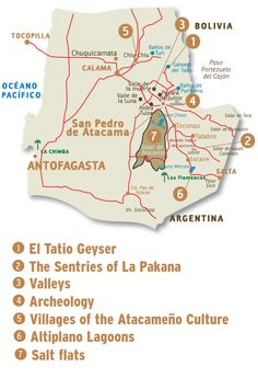Chile 🇨🇱 Atacama Desert Map of San Pedro Atacama Backpacking South America, South America Travel, Bolivia, Desert Map, Juan Fernandez, Drake Passage, South American Countries, Easter Island, I Want To Know
