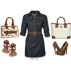 denim fall dress... Like the dress & the shoes