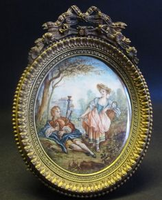 Signed Antique Miniature French Painting of Couple in Gilt Bronze Frame c. 1870 #Miniature