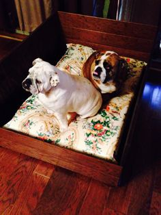 Dog bed made from leftover hardwood floors.