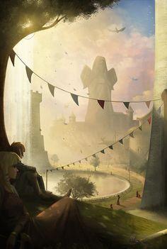 The Legend of Zelda: Skyward Sword, Link and Zelda / A Sunny Afternoon by yagaminoue on deviantART