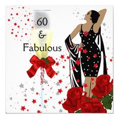Shop Birthday Party Retro Diva Art deco Red White Invitation created by AllStores. 60th Birthday Invitations, Happy 60th Birthday, Birthday Woman, Birthday Wishes, Birthday Ideas, Birthday Design, Birthday Quotes, Birthday Greetings, Funny Birthday
