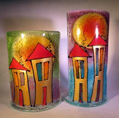 Handmade fused glass tea light holders depicting hand drawn houses