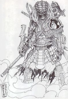 Samurai Predator by Julio Cesar Predator Tattoo, Predator Alien, Fantasy Dragon, Fantasy Art, Predator Cosplay, Alien Drawings, Alien Concept Art, Japanese Tattoo Art, Samurai Tattoo