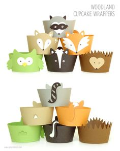woodland party cupcake wrappers www.amyrobison.com/blog