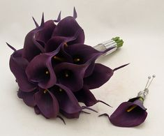 Real Touch Calla Lily Bridal Bouquet Groom's Boutonniere in Eggplant Purple - Real Touch Silk Wedding Flower Bridal Bouquet on Etsy, $90.00