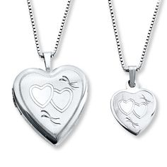 Mother/Daughter Necklaces Heart Locket/Pendant Sterling Silver