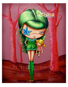 Big Eyed Art-Big Girls Play with Baby Dolls and Dream with Stars in Their Eyes-Pinkytoast Art Print 8x10