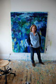 Caroline Havers in her studio in London.... -Private Gardens #1, Irises - I've Loved You So Long by caroline havers,