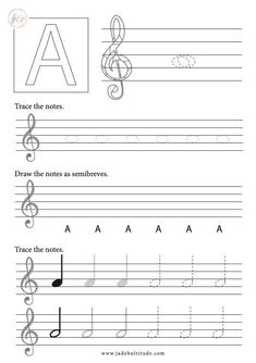 Learning how to draw musical notes is very important for beginners learning music theory. This worksheet allows students to practise recognising notes in crotchet, minim and semibreve forms (or whole, half and quarter notes). This worksheet is about the note A. Music Lessons For Kids, Piano Lessons, Music Theory Piano, Music Theory Worksheets, Music Do, Music Activities, Treble Clef, Elementary Music, Music Classroom