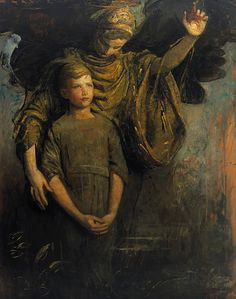 "...And calm their fears, their troubled storms so wild, ~ To let their pains and problems lay to rest. ~ God made an angel so those hurt can stand, ~ But, if an angel, who will hold his hand? ~ unknown author ~ Abbott H. Thayer ""'Boy and Angel"""