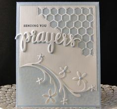 Card for Angela 2016 Tim Holtz corner. Hero Arts Prayers die, cut twice, once in blue (showing slightly) and stacked with white. Wild Rose Studio flourish with flowers. SU vellum with flowers. Faux dots made with punch and stylus. Made by Peggy Dollar
