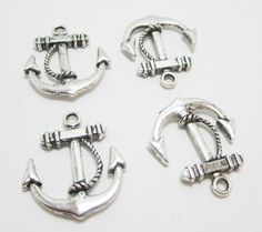 4 Silver Nautical Anchor Charms 4052 by WhispySnowAngel on Etsy, $1.85