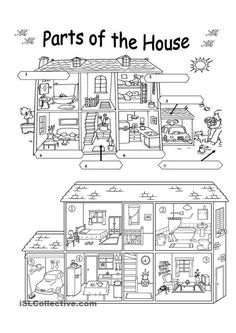 Parts of House Coloring Pages  what s in the house 2 pages