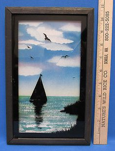 Nautical Black Silhouette Reverse Painted Sail Boat Wall Hanging Picture Framed
