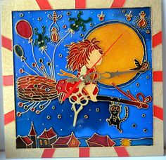 Kids wall clock.Stained glass painting. Handmade.Fairy.Glass clock. Hand painted clock.For children's room.clock Little Fairy.Gift for girl