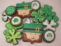 st patrick day sugar cookies.  Some of the designs are the original designs of www.lilaloa.com  https://www.facebook.com/sweetcharleyconfections