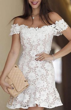 Off Shoulder White Lace Sheer Mini Dress White Bandage Dress, Sheer Mini Dress, The Dress, Bodycon Dress, Bandage Dresses, Dress Lace, Dress Outfits, Fashion Dresses, Fashion Wigs