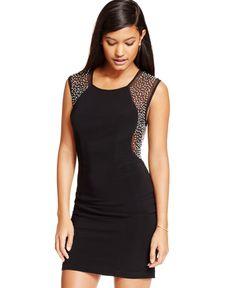 B Darlin Juniors' Studded Illusion Bodycon Dress