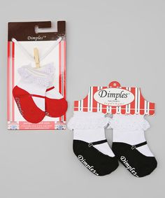 Look what I found on #zulily! Black & Red Mary Jane Socks Set by Dimples #zulilyfinds