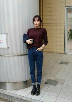 burgundy sweater + jeans + black socks + docs