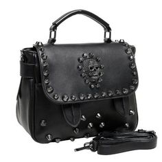 MG Collection Ming Gothic Skull Studded Structured Shoulder Bag Black One Size * You can find out more details at the link of the image.