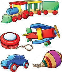 Cartoon Toys by memoangeles Retro cartoon toys. Vector clip art illustration with simple gradients. Each on a separate layer. Train Cartoon, Cartoon Toys, Retro Cartoons, Cartoon Drawings, Vector Design, Design Art, Blank Business Cards, Wooden Train, Retro Toys