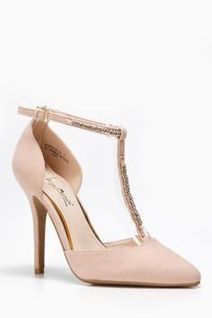 Pointy Toe Chain Accent Heels