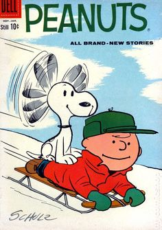 Charlie Brown on Sled With Snoopy Riding On His Back And Using His Ears As A Propeller Charlie Brown Y Snoopy, Snoopy Love, Snoopy And Woodstock, Peanuts Cartoon, Peanuts Snoopy, Peanuts Comics, Vintage Comic Books, Vintage Comics, Peanuts By Schulz