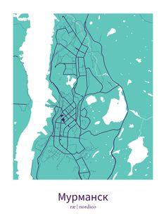 Murmansk, Russia Map Print