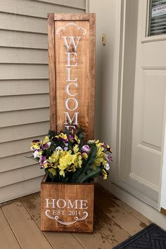 Diy Planter Box, Wooden Planters, Diy Planters, Outdoor Welcome Sign, Wooden Welcome Signs, Wood Signs, Wooden Crafts, Wooden Diy, 4x4 Crafts