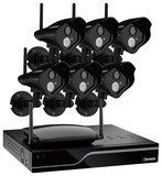Defender - Pro 8-Channel, 6-Camera Indoor/Outdoor Wireless Security System - Black