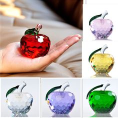 3D Crystal Paperweights Cut Glaze Apple Figurine Glass Wedding Decor Gifts 40mm #Unbranded