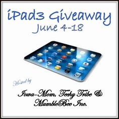 Mom to Bed by 8 is having aTechy Summer over at the'Iowa Mom' and wants to help you get your sunsational summer started off right by offering you a chance to win an iPad 3 (technical term the Apple iPad 3rd generation). I love, love love my i