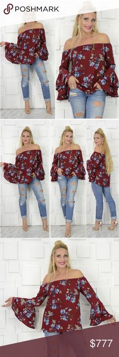 BURGUNDY FLORAL OFF SHOULDER TOP Brand new Boutique item   Grab this gorgeous BURGUNDY off the shoulder top featuring multi color floral print, and fabulous bell sleeves!! A must have!!   100% polyester Model is a small, wearing the small . Tops Blouses
