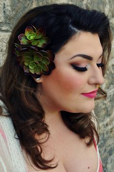 Succulent Trio Hair Piece by DeviouslySweet on Etsy