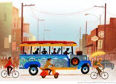 Jamey Christoph - Jeepney, Manila - alley cats and drifters: Cursive Writing: Around the World in 26 Letters Filipino Art, Filipino Culture, Filipino Architecture, Bg Design, Philippine Art, Happy Little Trees, Philippines Culture, Quirky Art, Alley Cat