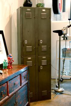 Vintage Four Door Locker (unit refinished to natural steel; 24w x 12d x 75h; 1600.00)