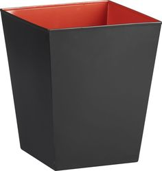 Guest bath. pop industry.  Steel square catchall powdercoated matte black reveals a surprise contrast of slick red/orange. Matte black powdercoated steelHi-gloss red/orange interiorWipe clean with damp clothMade in China.