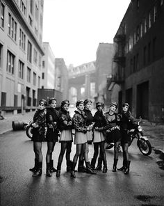 "WILD AT HEART– VOGUE 1991 | THE EPIC PHOTOGRAPHY OF PETER LINDBERGH.  In 1991, photographer Peter Lindbergh shot the elite eight of the world's sexiest Supermodels in Brooklyn, NY for the September 1991 issue of American Vogue– Cindy Crawford, Tatjana Patitz, Helena Christensen, Linda Evangelista, Claudia Schiffer, Naomi Campbell, Karen Mulder, and Stephanie Seymour. This shot was titled ""The Wild Ones"" with the original selling at auction a few years ago for close to  $ 35,000"
