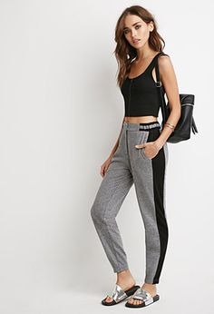 Marled Knit Striped Joggers | Forever 21 - pants, top shirt, flats
