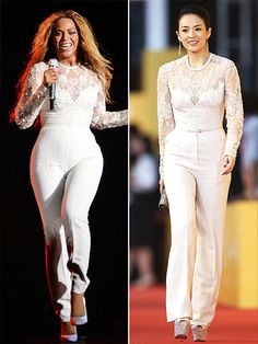 Fashion Faceoff | BEYONCÉ VS. ZHANG  | The singer has a bridal moment on stage in this white Elie Saab jumpsuit, while the actress adds some more edge with blingy platforms and a metallic clutch.