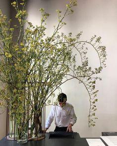 Flower Arrangement Designs, Flower Designs, Floral Arrangements, Floral Room, Art Floral, Scandinavian Style, Flower Installation, Green Plants, Growing Plants