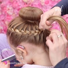 This might be the prettiest bun I have ever seen 😍 hair styles for toddlers daughters BRAIDED BUN TUTORIAL African Braids Hairstyles, Braided Hairstyles, Cool Hairstyles For Girls, Bun Hairstyles For Long Hair, School Hairstyles, Beautiful Hairstyles, Trendy Hairstyles, Wedding Hairstyles, Braided Bun Tutorials