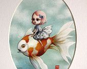 Abbi and the Goldfish - Limited edition signed and numbered 5x7 Fine Art Print by Mab Graves