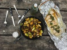 Campfire Chicken with Roasted Brussels Sprouts, Potatoes, & Dill