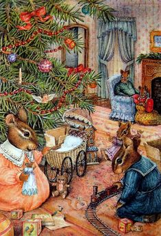 The Chipmunks gathers round the Christmas tree to sing Carols. Susan Wheeler, Christmas Pictures, Christmas Art, Vintage Christmas, Christmas Morning, Christmas Illustration, Cute Illustration, Bunny Art, Old Fashioned Christmas