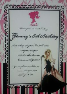 Vintage Barbie themed party invitation