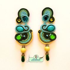 Soutache Earrings Swarovski Crystal di DILETTANTEsoutache su Etsy, $130.00